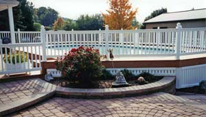 pool, deck, fence and garden accents at Leisure World