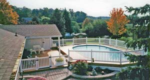 pools, deck, fence and garden accents at Leisure World